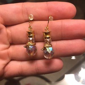 Avon Goldtone Crystal Snowman Dangle Earrings
